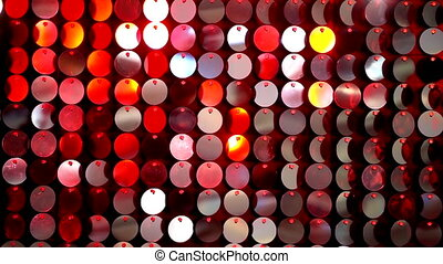 Sequins sparkling reflective background. Abstract kinetic glitter wall moving. Night club decoration. Can be used as transitions, added to modern projects, art backgrounds