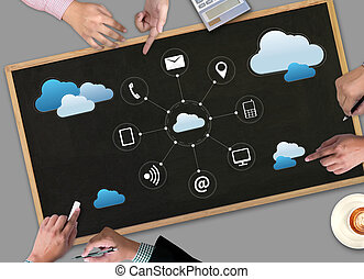 red, servicio, informática, datos, almacenamiento, diagrama, tecnología, nube