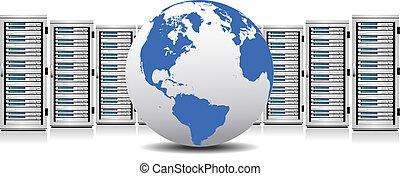 red, servidores, fila, globo