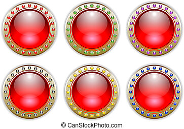 Red Set of 6 Color Combinations Glossy Vector Buttons