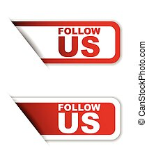 red set vector paper stickers follow us
