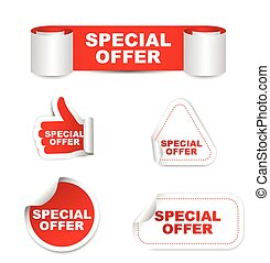 red set vector paper stickers special offer