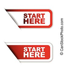 red set vector paper stickers start here - This is red set...