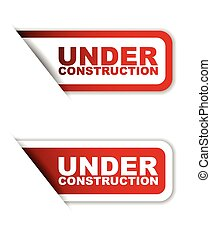 red set vector paper stickers under construction - This is...