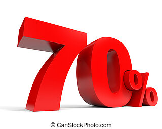 Red seventy percent off. Discount 70%. 3D illustration.