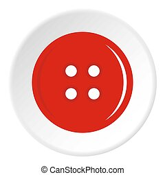 Red sewing button icon circle