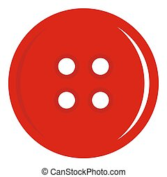 Red sewing button icon isolated
