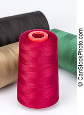 Red Sewing Thread on white background