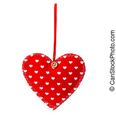 Red sewn heart isolated on white