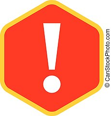Red sexangle exclamation mark icon warning sign