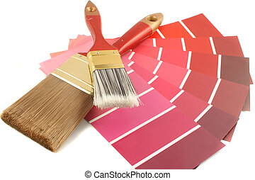 red shade paint swatches, and small roller brush for home decorating