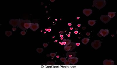 red shape hearts flying with white star in the pink hearts theme valentine day and love card blur background
