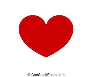 Red shape love heart icon vector isolated on white background.