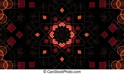 Red shapes on black background