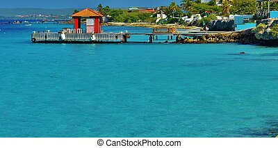 Red shed on a dock