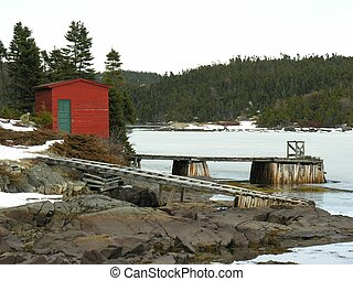 Red shed with wharf