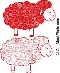 Red sheep - vector illustration of red sheep
