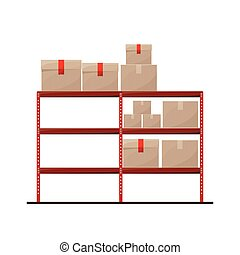 red shelves with sealed package