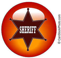red sheriff web button or icon - illustration