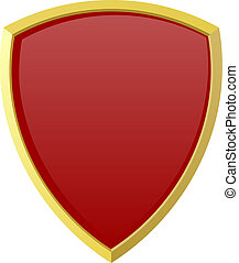 Red shield on white background