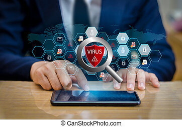 Red Shield Virus Internet phone Smartphone is protected from hacker attacks, Firewall Businesspeople press the protected phone on the internet. space put message