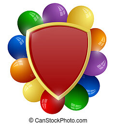 Red shield with a bunch of colorful balloons