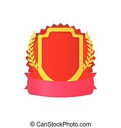 Red shield with ribbon and laurel icon