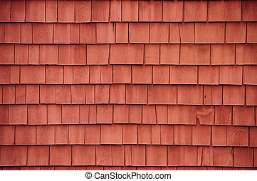 Red shingles on a barn Horizontal