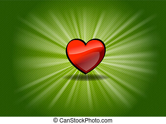 shining heart - red shining heart on the green background