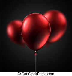 Red shiny balloons isolated on black background. Festive ...