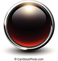 Red shiny button with metallic elements, 3D