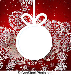 Red shiny christmas background with bauble.