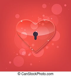 Red shiny heart lock shape.