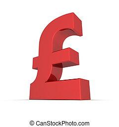 Red Shiny Pound Symbol - shiny and glossy red 3D pound ...