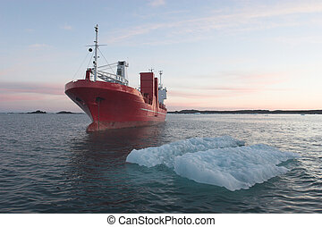 Red ship on the Arctic Sea