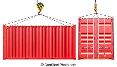 Red Shipping Cargo Container With Hook. Transportation...