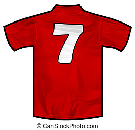 Red shirt seven - Number 7 seven red sport shirt as a...