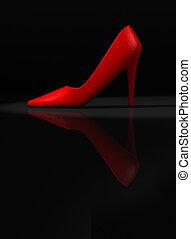 Red shoe - A red women's high heel shoe - rendered in 3d