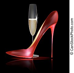 red shoe and drink - dark background and the red ladys shoe...