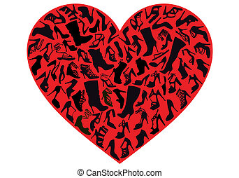 red shoe heart, vector