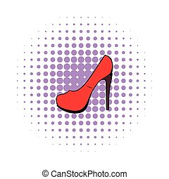 Red shoe icon, comics style