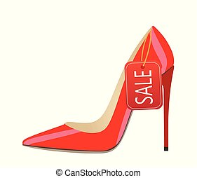 Red shoe with sale notice