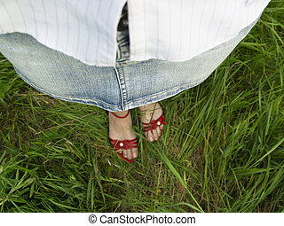 Red shoes and green grass