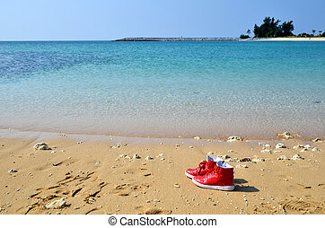 Red Shoes At Beach