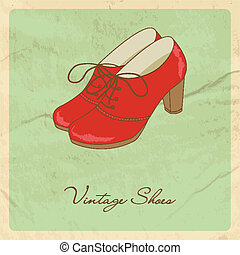 Red shoes on grunge background.