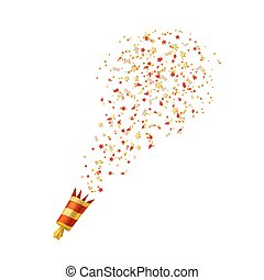 Red Shooting slapstick on a white background. Vector illustration.