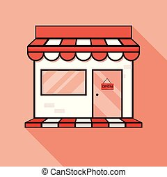 Red shop icon, showcase. Vector illustration with shadow. Store sign illustration. Red icon with flat style shadow path.