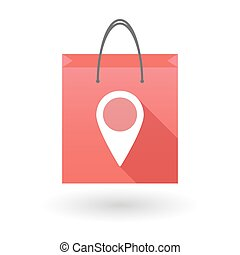 Red shopping bag icon with a map marker