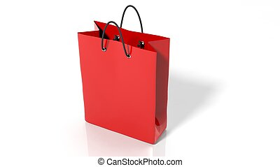 Red shopping bag isolated on white background