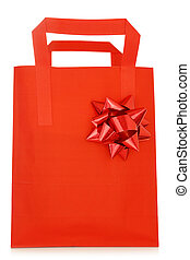 Red shopping bag with bow on white background